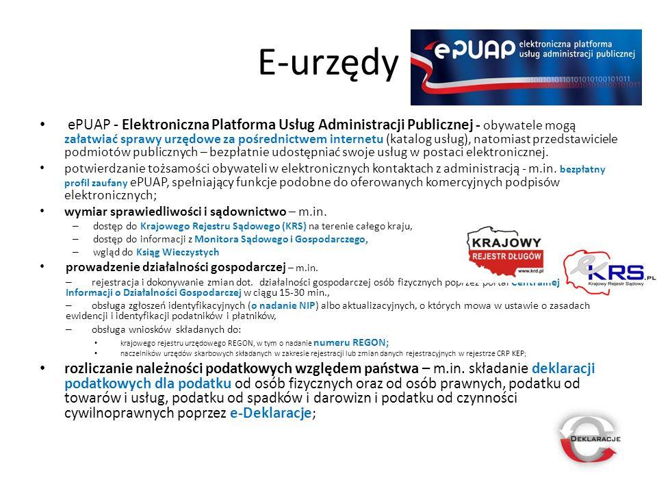 E-urzędy ePUAP - Elektroniczna Platforma Usług Administracji Publicznej - obywatele mogą załatwiać sprawy urzędowe za pośrednictwem internetu (katalog