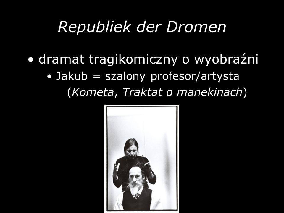 Republiek der Dromen dramat tragikomiczny o wyobraźni Jakub = szalony profesor/artysta (Kometa, Traktat o manekinach)