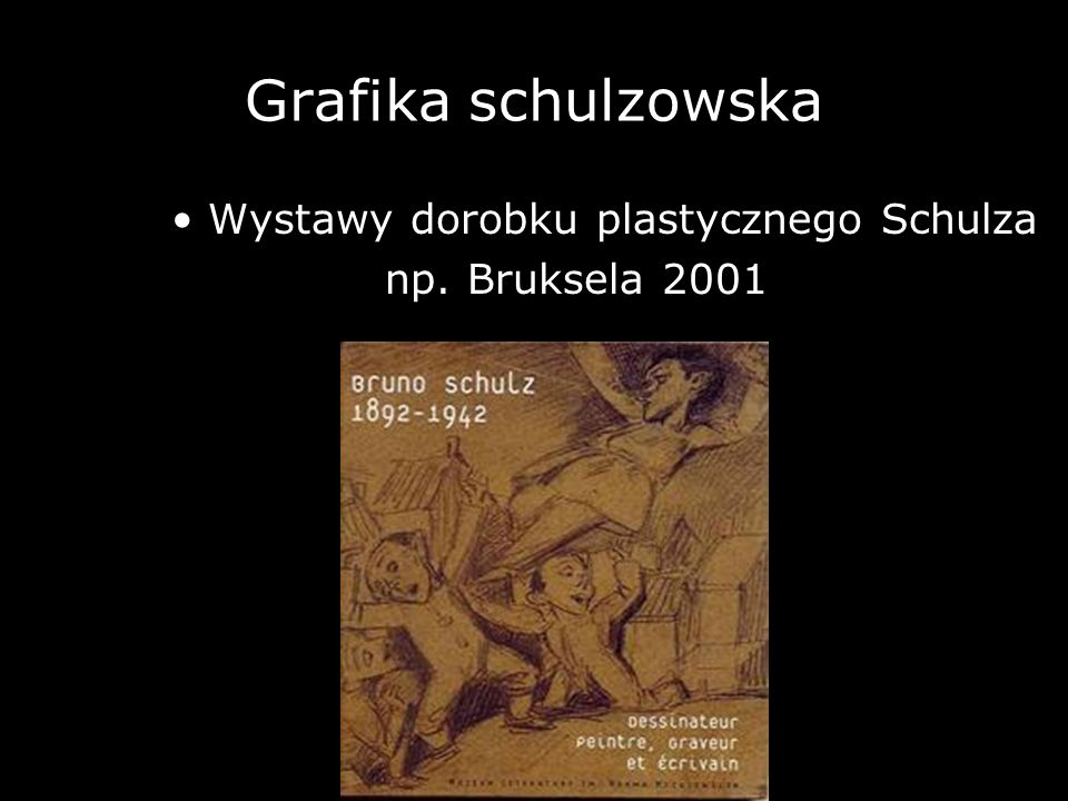 Grafika schulzowska Wystawy dorobku plastycznego Schulza np. Bruksela 2001
