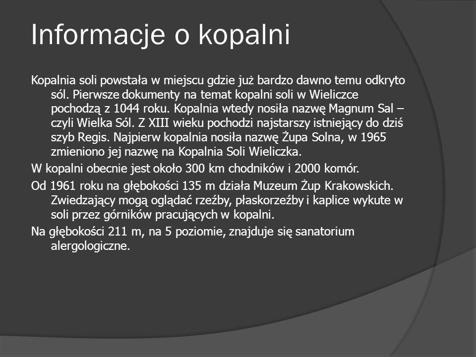 Skarbnik W Wieliczce jest wiele komór np.