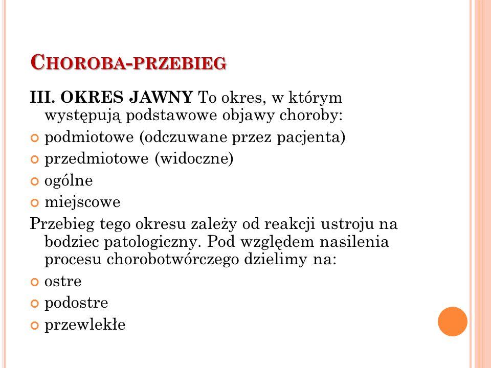 C HOROBA - PRZEBIEG III.