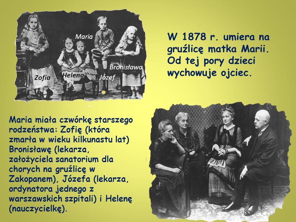 Maria miała czwórkę starszego rodzeństwa: Zofię (która zmarła w wieku kilkunastu lat) Bronisławę (lekarza, założyciela sanatorium dla chorych na gruźlicę w Zakopanem), Józefa (lekarza, ordynatora jednego z warszawskich szpitali) i Helenę (nauczycielkę).