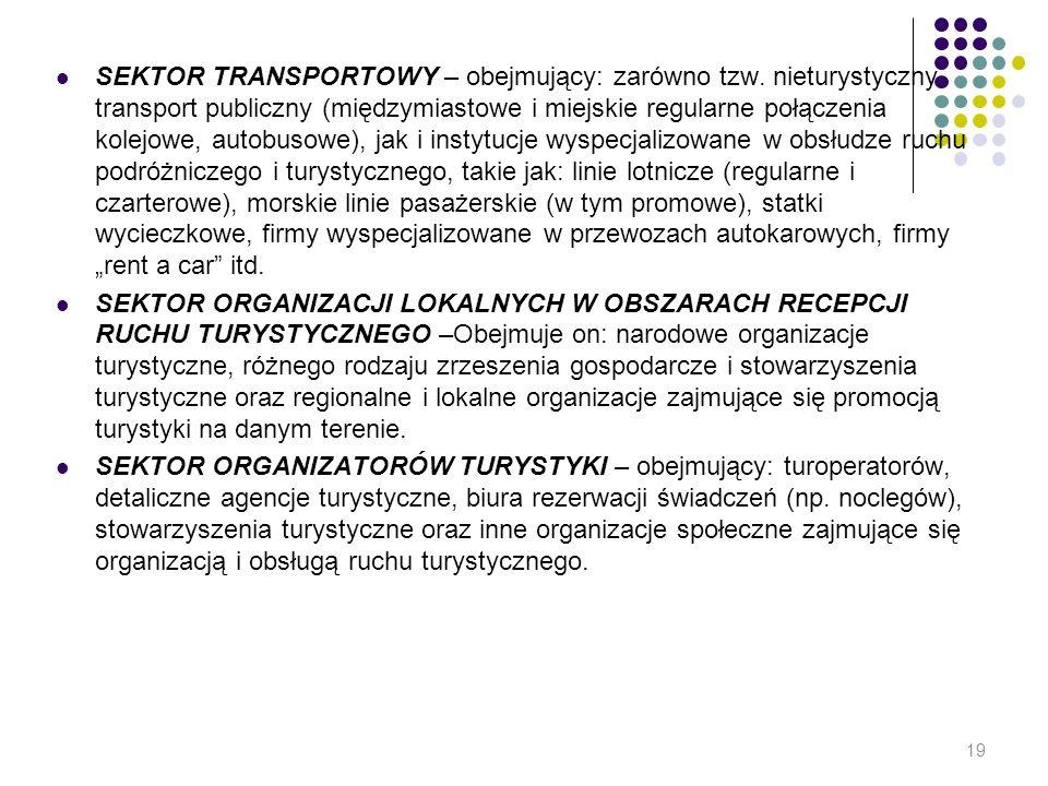 SEKTOR TRANSPORTOWY – obejmujący: zarówno tzw. nieturystyczny transport publiczny (międzymiastowe i miejskie regularne połączenia kolejowe, autobusowe