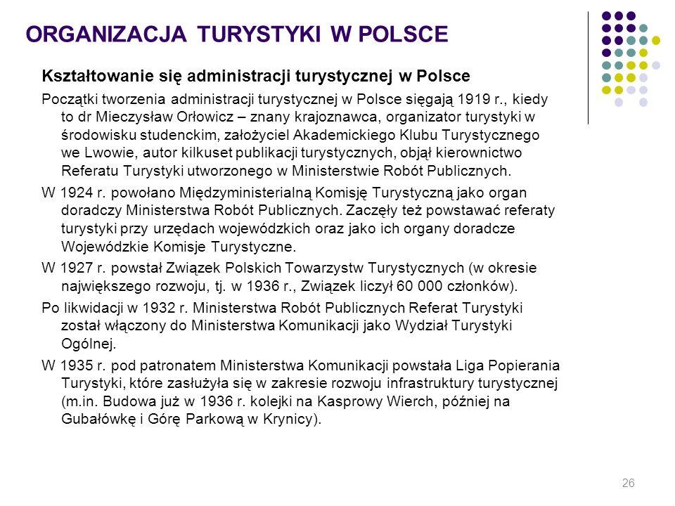 ORGANIZACJA TURYSTYKI W POLSCE Kształtowanie się administracji turystycznej w Polsce Początki tworzenia administracji turystycznej w Polsce sięgają 19