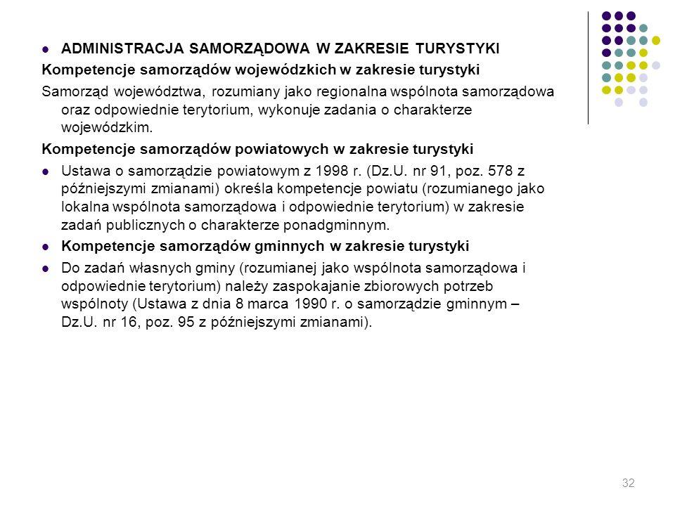 ADMINISTRACJA SAMORZĄDOWA W ZAKRESIE TURYSTYKI Kompetencje samorządów wojewódzkich w zakresie turystyki Samorząd województwa, rozumiany jako regionaln