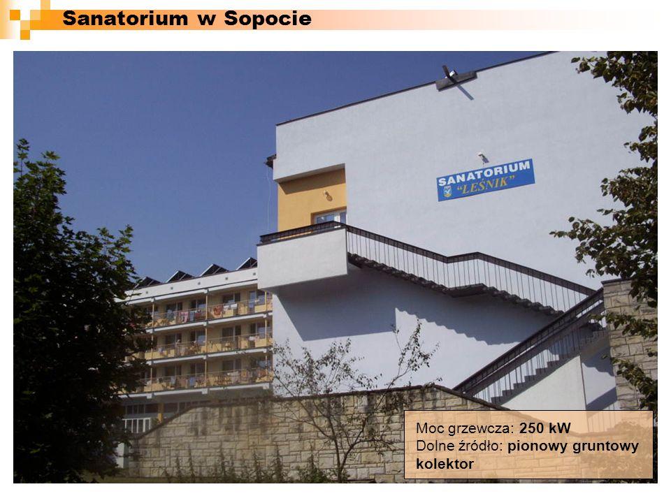 Moc grzewcza: 250 kW Dolne źródło: pionowy gruntowy kolektor Sanatorium w Sopocie