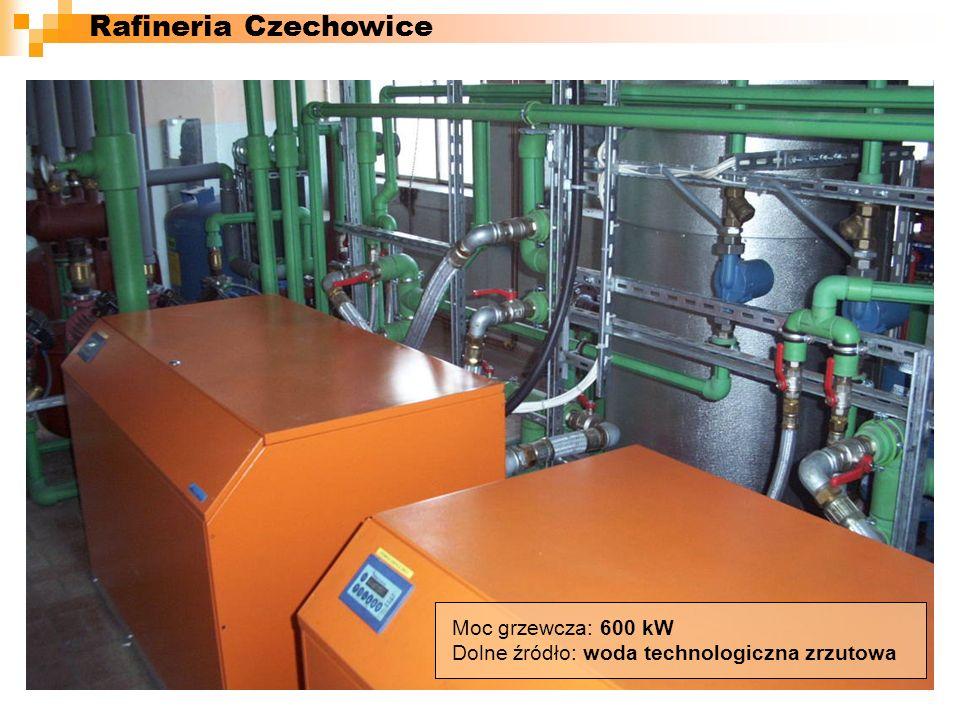 Rafineria Czechowice Moc grzewcza: 600 kW Dolne źródło: woda technologiczna zrzutowa
