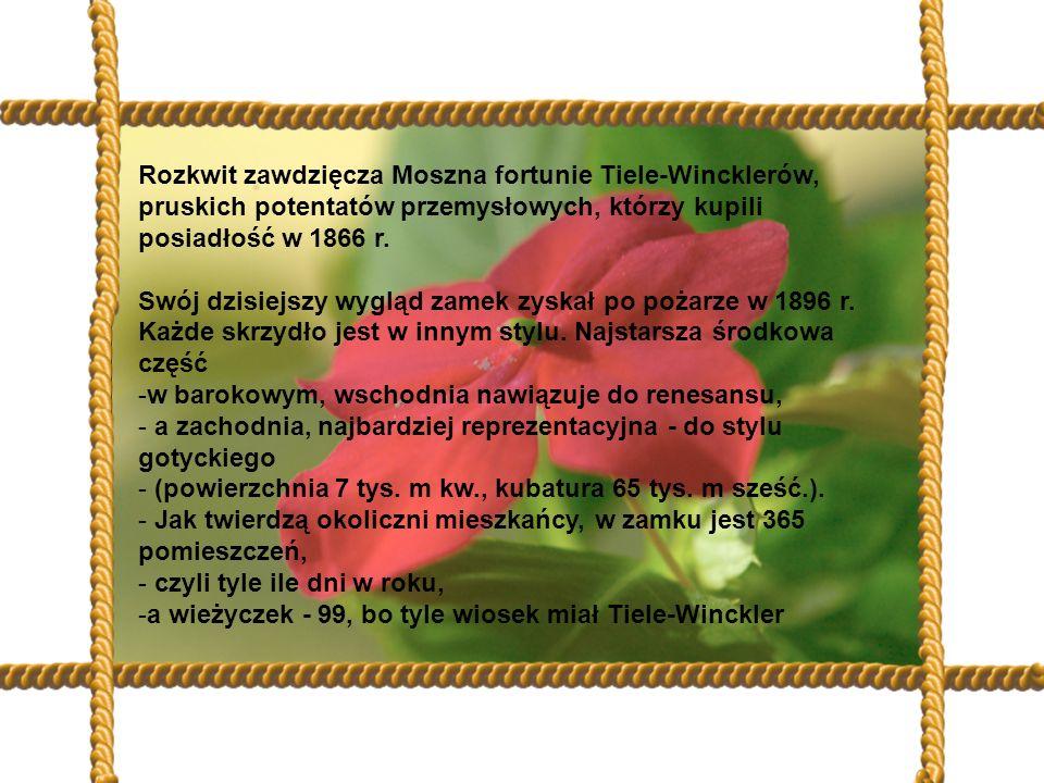 Rozkwit zawdzięcza Moszna fortunie Tiele-Wincklerów, pruskich potentatów przemysłowych, którzy kupili posiadłość w 1866 r.
