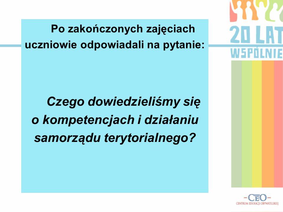 Po zakończonych zajęciach uczniowie odpowiadali na pytanie: Czego dowiedzieliśmy się o kompetencjach i działaniu samorządu terytorialnego