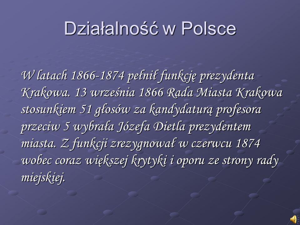 W latach 1866-1874 pełnił funkcję prezydenta Krakowa. 13 września 1866 Rada Miasta Krakowa stosunkiem 51 głosów za kandydaturą profesora przeciw 5 wyb