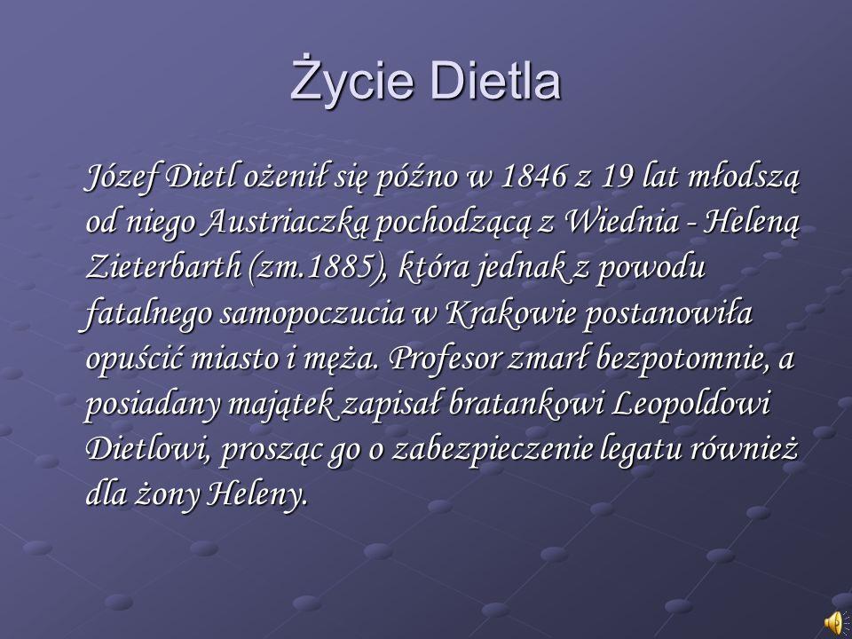 Życie Dietla Józef Dietl ożenił się późno w 1846 z 19 lat młodszą od niego Austriaczką pochodzącą z Wiednia - Heleną Zieterbarth (zm.1885), która jednak z powodu fatalnego samopoczucia w Krakowie postanowiła opuścić miasto i męża.