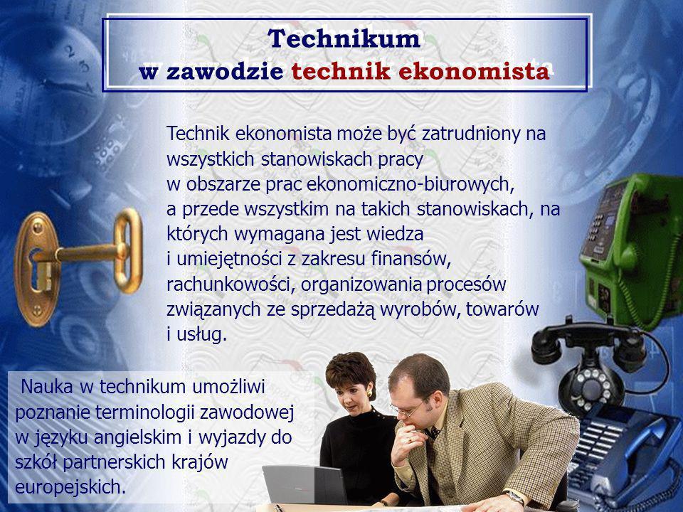 Technik ekonomista może być zatrudniony na wszystkich stanowiskach pracy w obszarze prac ekonomiczno-biurowych, a przede wszystkim na takich stanowiskach, na których wymagana jest wiedza i umiejętności z zakresu finansów, rachunkowości, organizowania procesów związanych ze sprzedażą wyrobów, towarów i usług.