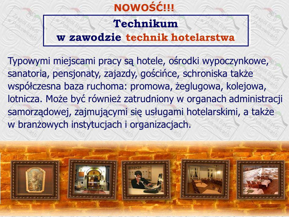 Typowymi miejscami pracy są hotele, ośrodki wypoczynkowe, sanatoria, pensjonaty, zajazdy, gościńce, schroniska także współczesna baza ruchoma: promowa, żeglugowa, kolejowa, lotnicza.