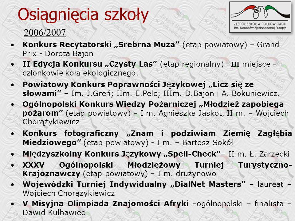 2006/2007 Konkurs Recytatorski Srebrna Muza (etap powiatowy) – Grand Prix - Dorota Bajon II Edycja Konkursu Czysty Las (etap regionalny) - III miejsce – członkowie koła ekologicznego.