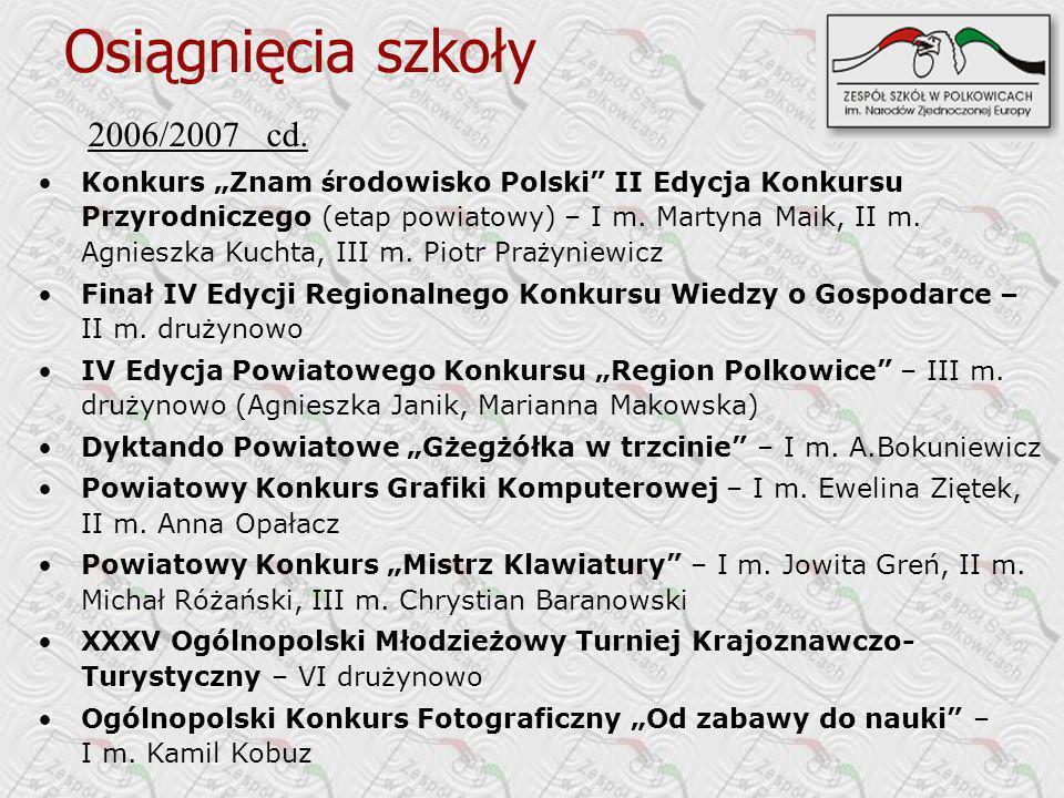 2006/2007 cd. Konkurs Znam ś rodowisko Polski II Edycja Konkursu Przyrodniczego (etap powiatowy) – I m. Martyna Maik, II m. Agnieszka Kuchta, III m. P