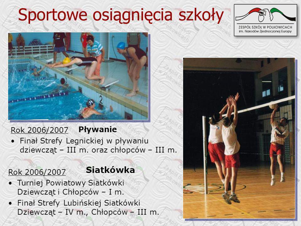 Sportowe osiągnięcia szkoły Rok 2006/2007 Finał Strefy Legnickiej w pływaniu dziewcząt – III m.