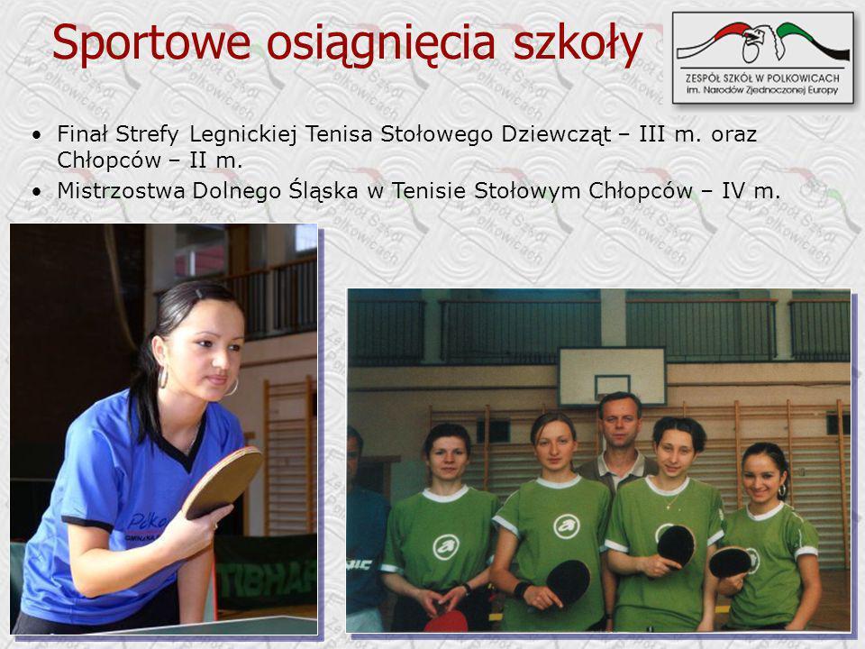 Sportowe osiągnięcia szkoły Finał Strefy Legnickiej Tenisa Stołowego Dziewcząt – III m. oraz Chłopców – II m. Mistrzostwa Dolnego Śląska w Tenisie Sto