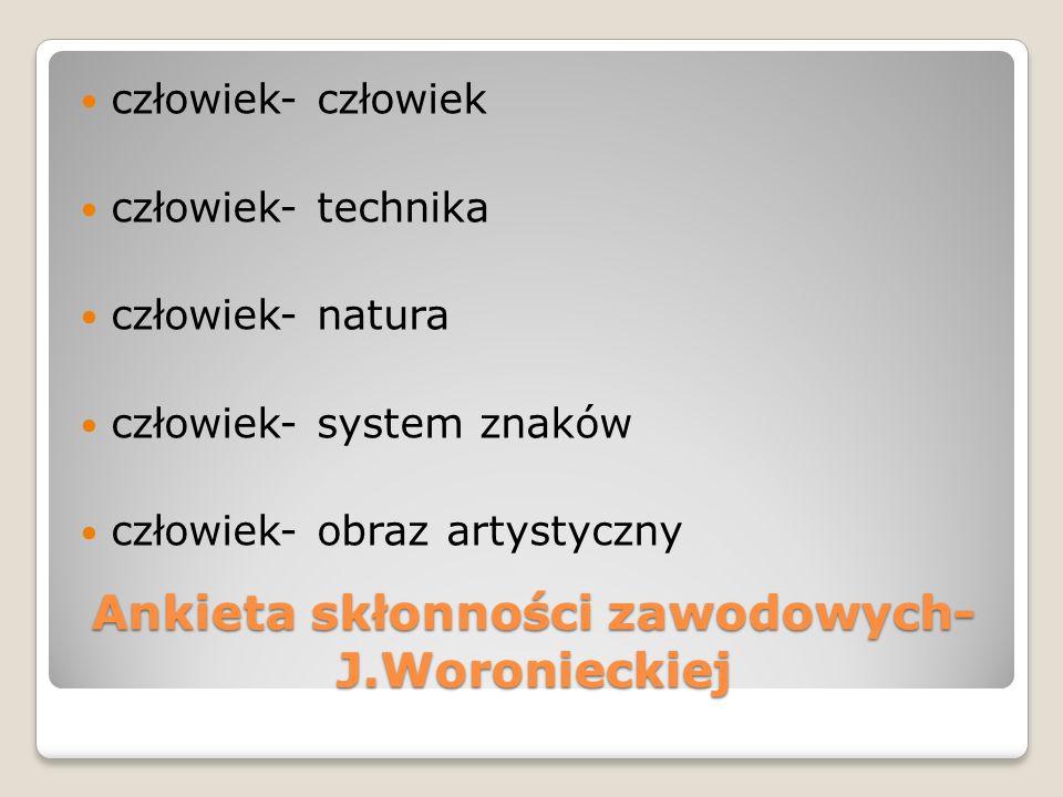 Ankieta skłonności zawodowych- J.Woronieckiej człowiek- człowiek człowiek- technika człowiek- natura człowiek- system znaków człowiek- obraz artystycz