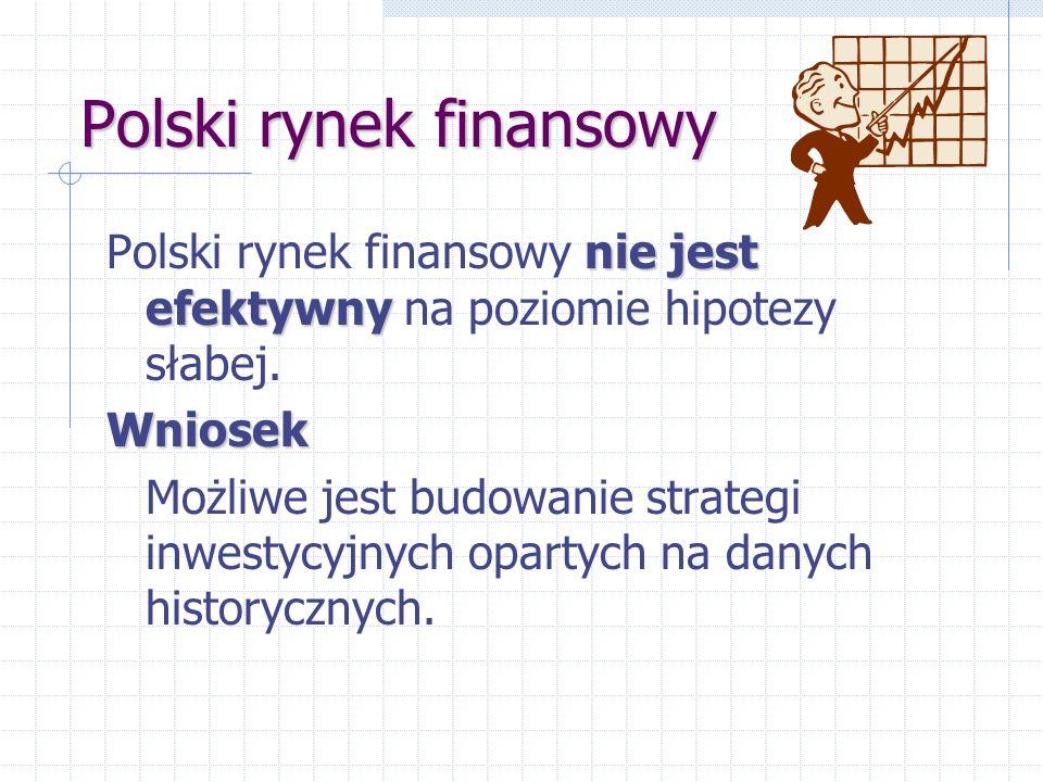 Polski rynek finansowy nie jest efektywny Polski rynek finansowy nie jest efektywny na poziomie hipotezy słabej.Wniosek Możliwe jest budowanie strategi inwestycyjnych opartych na danych historycznych.