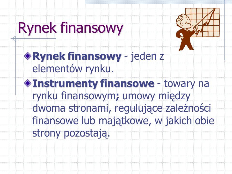 Rynek finansowy Rynek finansowy Rynek finansowy - jeden z elementów rynku. Instrumenty finansowe Instrumenty finansowe - towary na rynku finansowym; u