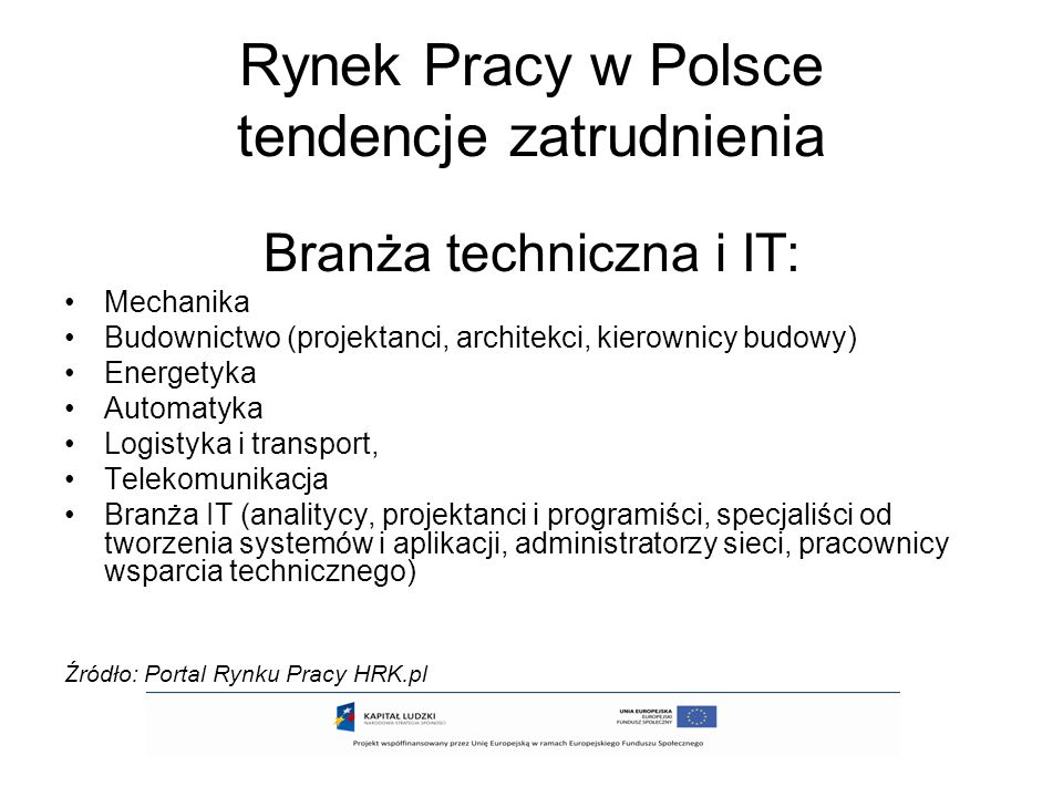 Rynek Pracy w Polsce tendencje zatrudnienia Branża techniczna i IT: Mechanika Budownictwo (projektanci, architekci, kierownicy budowy) Energetyka Auto