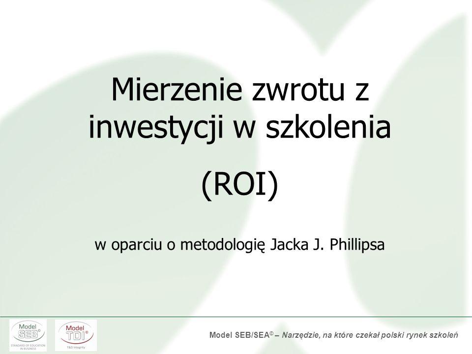 Model SEB/SEA © – Narzędzie, na które czekał polski rynek szkoleń Szkolenie powiązane z konkretnymi potrzebami biznesowymi. Ocena efektywności szkolen