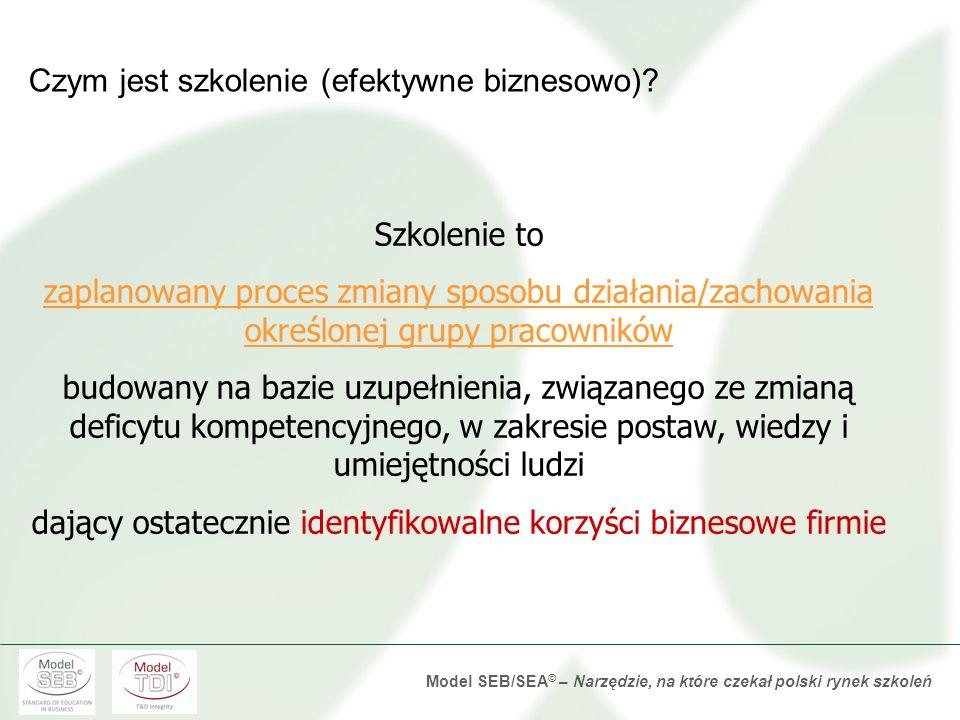 Model SEB/SEA © – Narzędzie, na które czekał polski rynek szkoleń Obszary polityki szkoleń oceniane w badaniu TDI 2012 Ocena standardu realizacji szkoleniaOcena jakości partnerstwa w procesie szkoleniowym Ocena standardu ewaluacji szkoleń