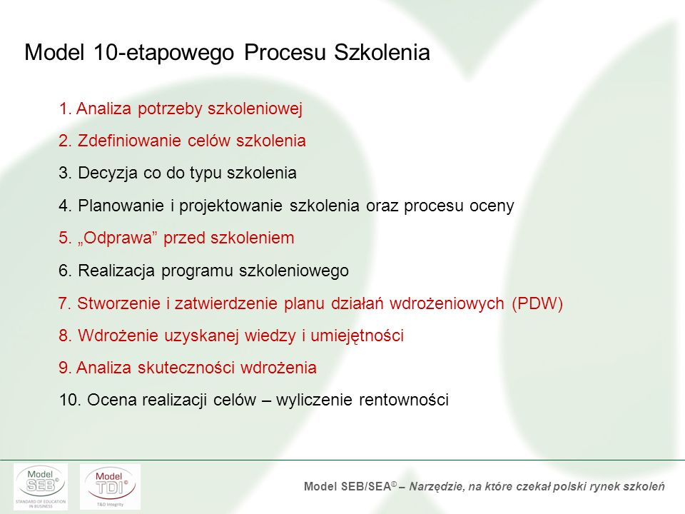 Model SEB/SEA © – Narzędzie, na które czekał polski rynek szkoleń 1.Wybieramy jednostkę poprawy 2.Ustalamy wartość jednostki poprawy 3.Ustalamy wielkość poprawy w jednostkach 4.Ustalamy wielkość poprawy w skali roku 5.Obliczamy całkowitą wartość poprawy Ogólne etapy zamiany efektów na pieniądze Mając zdefiniowane cele szkolenia na poziomie zmian poszczególnych wyników biznesowych
