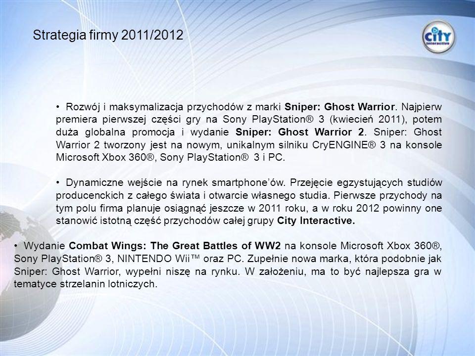 Strategia firmy 2011/2012 Rozwój i maksymalizacja przychodów z marki Sniper: Ghost Warrior.