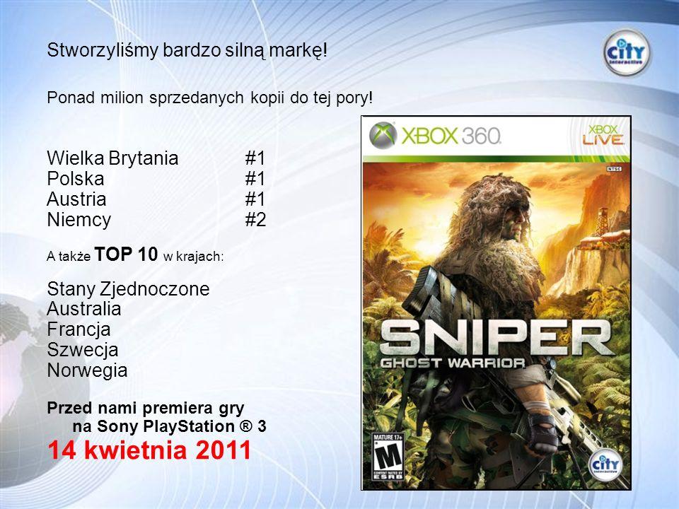 Wielka Brytania #1 Polska #1 Austria #1 Niemcy #2 A także TOP 10 w krajach: Stany Zjednoczone Australia Francja Szwecja Norwegia Przed nami premiera gry na Sony PlayStation ® 3 14 kwietnia 2011 Stworzyliśmy bardzo silną markę.