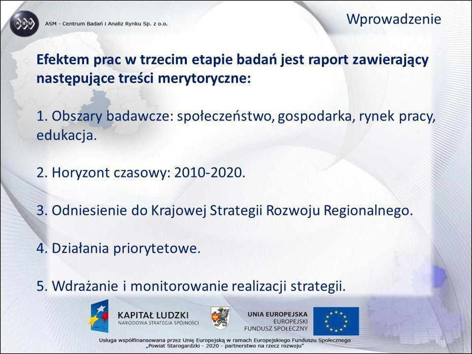 Efektem prac w trzecim etapie badań jest raport zawierający następujące treści merytoryczne: 1. Obszary badawcze: społeczeństwo, gospodarka, rynek pra
