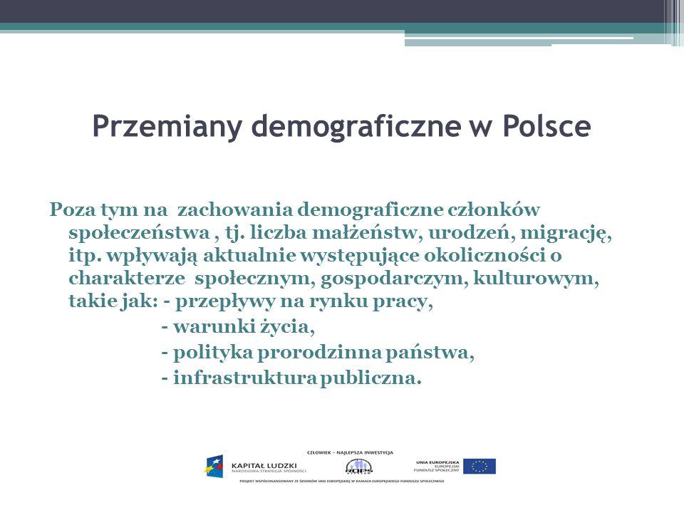 Przemiany demograficzne w Polsce Poza tym na zachowania demograficzne członków społeczeństwa, tj. liczba małżeństw, urodzeń, migrację, itp. wpływają a