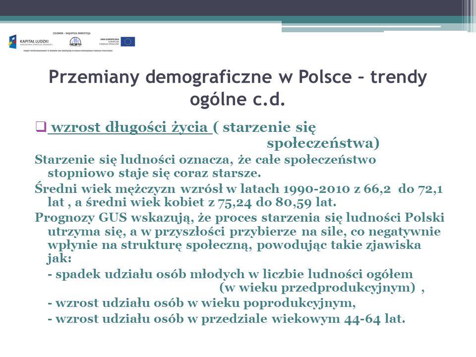 Przemiany demograficzne w Polsce – trendy ogólne c.d. wzrost długości życia ( starzenie się społeczeństwa) Starzenie się ludności oznacza, że całe spo