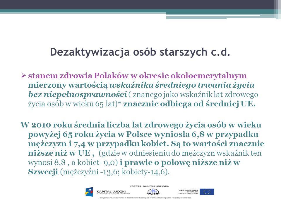 Dezaktywizacja osób starszych c.d. stanem zdrowia Polaków w okresie okołoemerytalnym mierzony wartością wskaźnika średniego trwania życia bez niepełno