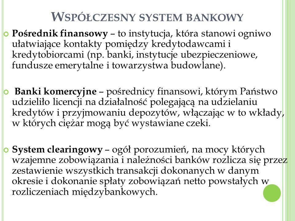 W SPÓŁCZESNY SYSTEM BANKOWY Pośrednik finansowy – to instytucja, która stanowi ogniwo ułatwiające kontakty pomiędzy kredytodawcami i kredytobiorcami (
