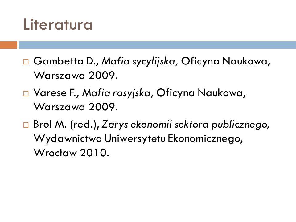 Literatura Gambetta D., Mafia sycylijska, Oficyna Naukowa, Warszawa 2009. Varese F., Mafia rosyjska, Oficyna Naukowa, Warszawa 2009. Brol M. (red.), Z