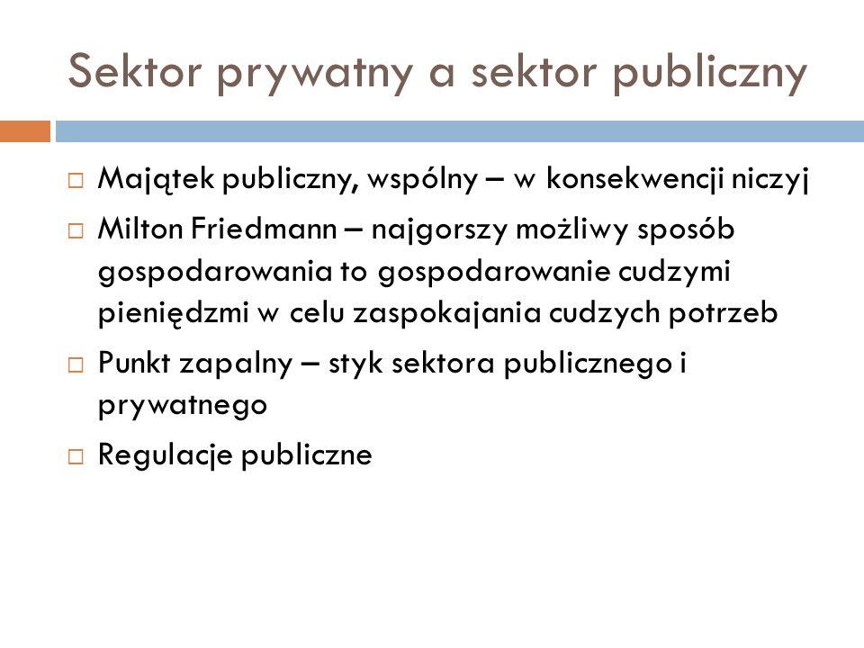 Sektor prywatny a sektor publiczny Majątek publiczny, wspólny – w konsekwencji niczyj Milton Friedmann – najgorszy możliwy sposób gospodarowania to go