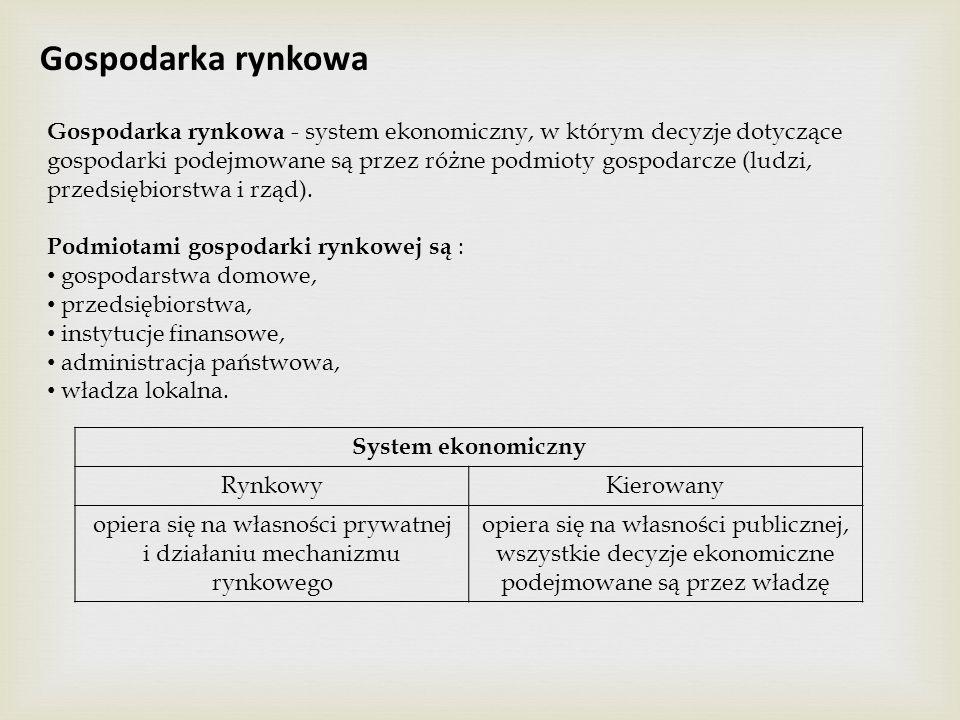 Gospodarka rynkowa Gospodarka rynkowa - system ekonomiczny, w którym decyzje dotyczące gospodarki podejmowane są przez różne podmioty gospodarcze (lud