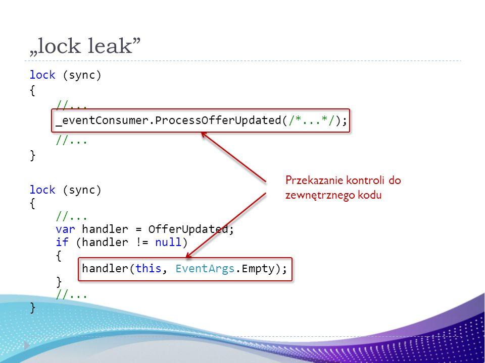 lock leak lock (sync) { //... _eventConsumer.ProcessOfferUpdated(/*...*/); //... } lock (sync) { //... var handler = OfferUpdated; if (handler != null