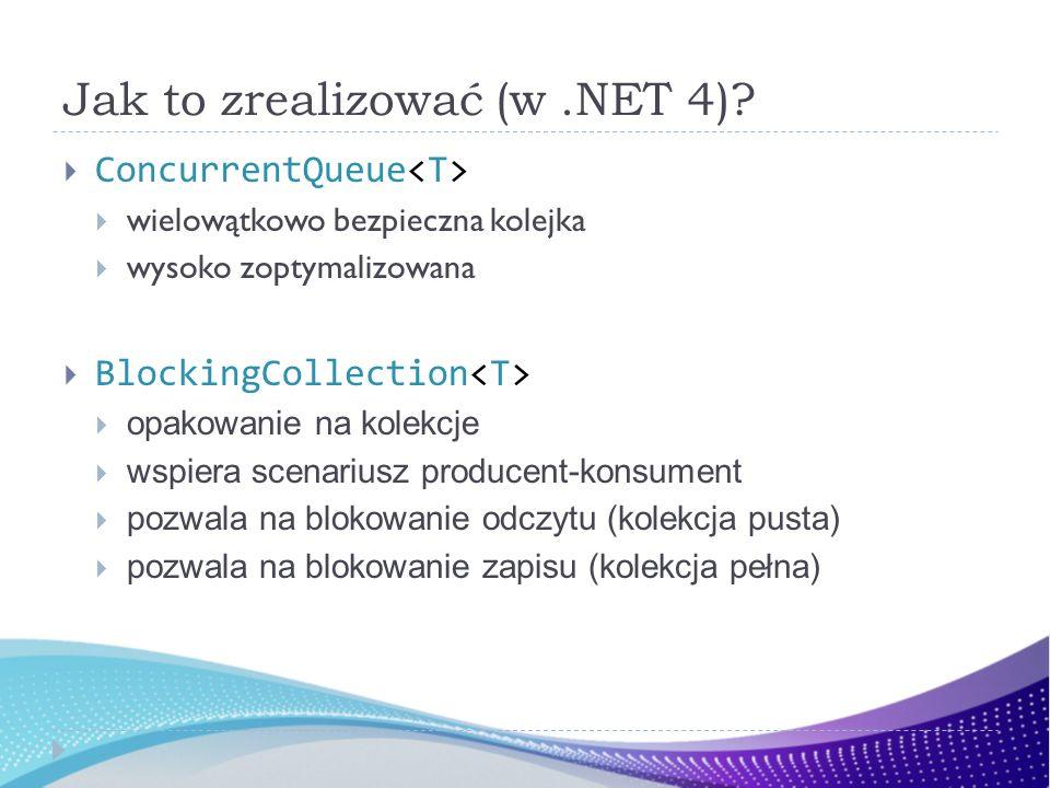 Jak to zrealizować (w.NET 4)? ConcurrentQueue wielowątkowo bezpieczna kolejka wysoko zoptymalizowana BlockingCollection opakowanie na kolekcje wspiera
