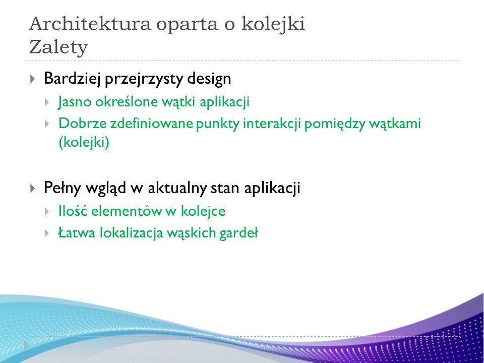 Architektura oparta o kolejki Zalety Bardziej przejrzysty design Jasno określone wątki aplikacji Dobrze zdefiniowane punkty interakcji pomiędzy wątkami (kolejki) Pełny wgląd w aktualny stan aplikacji Ilość elementów w kolejce Łatwa lokalizacja wąskich gardeł
