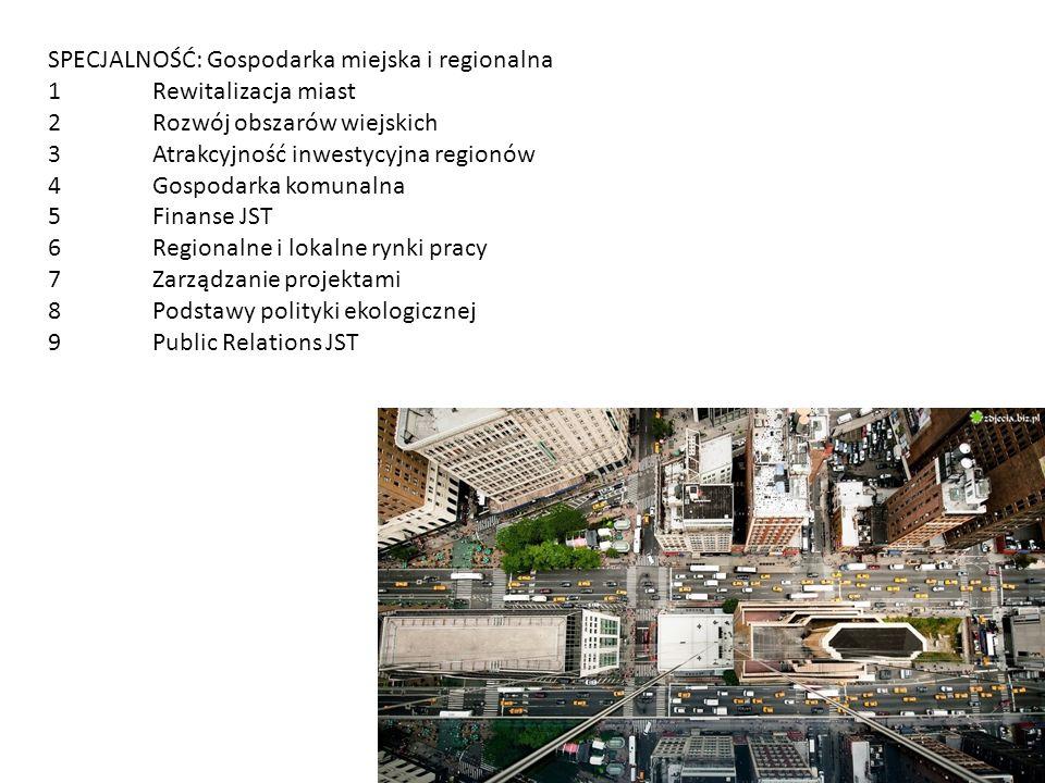 SPECJALNOŚĆ: Gospodarka miejska i regionalna 1Rewitalizacja miast 2Rozwój obszarów wiejskich 3Atrakcyjność inwestycyjna regionów 4Gospodarka komunalna