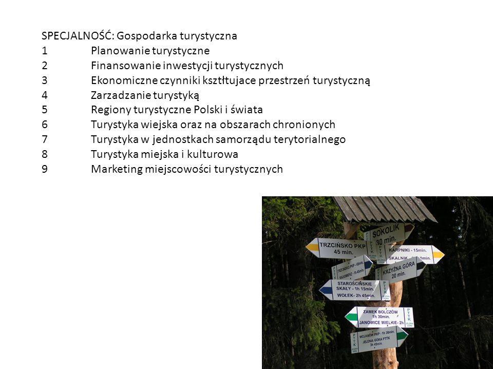 SPECJALNOŚĆ: Gospodarka turystyczna 1Planowanie turystyczne 2Finansowanie inwestycji turystycznych 3Ekonomiczne czynniki ksztłtujace przestrzeń turyst