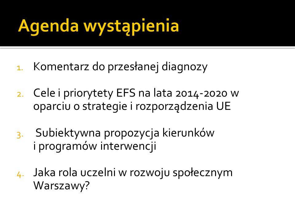 1. Komentarz do przesłanej diagnozy 2. Cele i priorytety EFS na lata 2014-2020 w oparciu o strategie i rozporządzenia UE 3. Subiektywna propozycja kie