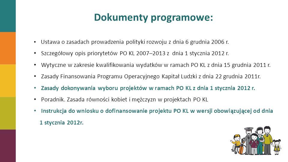 Dokumenty programowe: Ustawa o zasadach prowadzenia polityki rozwoju z dnia 6 grudnia 2006 r. Szczegółowy opis priorytetów PO KL 2007–2013 z dnia 1 st