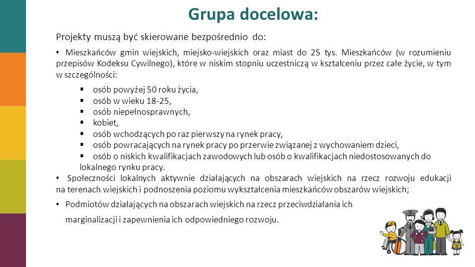 Grupa docelowa: Projekty muszą być skierowane bezpośrednio do: Mieszkańców gmin wiejskich, miejsko-wiejskich oraz miast do 25 tys. Mieszkańców (w rozu