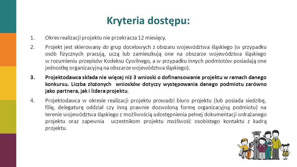 Kryteria dostępu: 1.Okres realizacji projektu nie przekracza 12 miesięcy. 2.Projekt jest skierowany do grup docelowych z obszaru województwa śląskiego