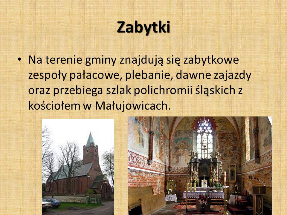 Zabytki Na terenie gminy znajdują się zabytkowe zespoły pałacowe, plebanie, dawne zajazdy oraz przebiega szlak polichromii śląskich z kościołem w Mału