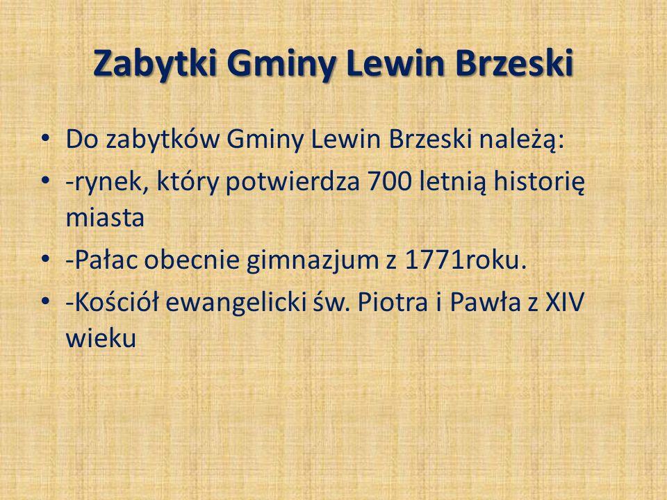 Zabytki Gminy Lewin Brzeski Do zabytków Gminy Lewin Brzeski należą: -rynek, który potwierdza 700 letnią historię miasta -Pałac obecnie gimnazjum z 177