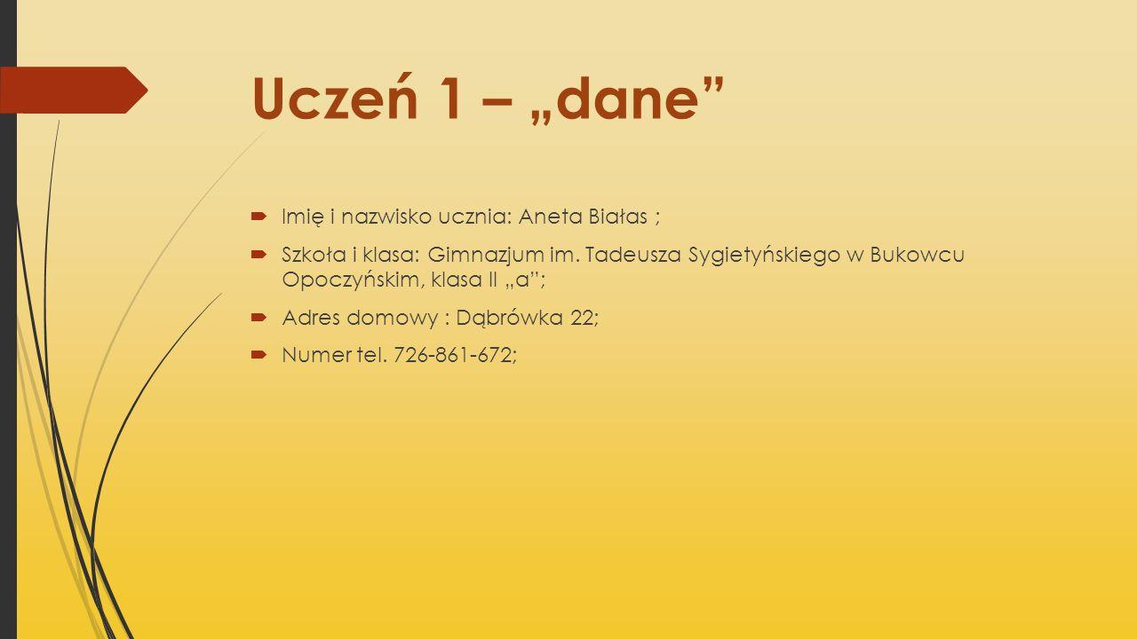 Uczeń 1 – dane Imię i nazwisko ucznia: Aneta Białas ; Szkoła i klasa: Gimnazjum im. Tadeusza Sygietyńskiego w Bukowcu Opoczyńskim, klasa II a; Adres d